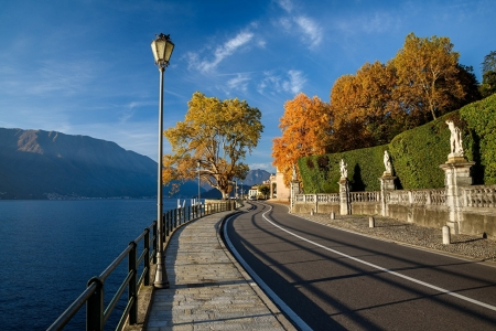 Lago di Como,Italy - nature, alps, road, mountains, trees