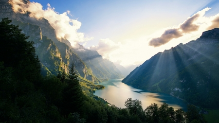 Lake Near The Mountains - rays, mountains, lake, nature, trees, lights