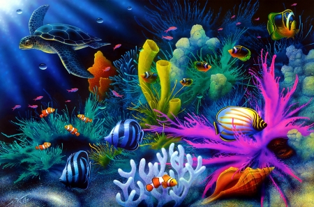 Sea world - colorful, world, water, fish, turtle, coral, under, sea, beautiful