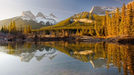Three Sisters from Police Creek, Bow river - canada, banff, alberta, water, mountains, reflections
