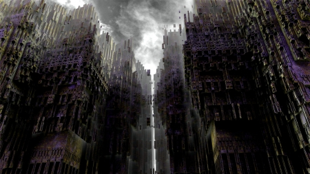 towers of styx - fantasy, gothic, abstract, dark