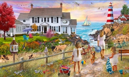 Beach Path - ocrEan, house, pathway, people, Beach, home, Illustration