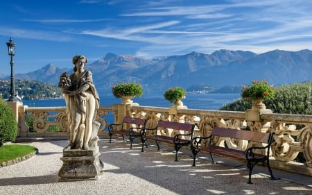 Terrace by Lake - lakes, lanterns, benches, Italy, mountains, terrace, sculpture