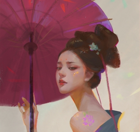 Princess - pink, art, frumusete, me, luminos, umbrella, superb, fantasy, girl, asian, face, tea me, parasol, gorgeous