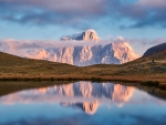 Reflection of the Dolomites Mountains, Italy