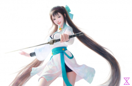 Samurai girl - white, sword, blue, frumusete, ruoxin zhang, luminos, superb, fantasy, samurai, girl, katana, gorgeous