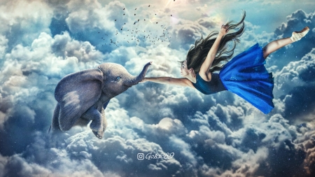 Love - nemanja drobnjak, girl, flying, elephant, sky, blue, cloud, creative, fantasy, white