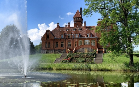 Palace Jaunmoku, Latvia - pond, fountain, tree, palace, Latvia