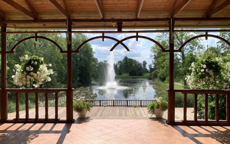 View from Gazebo - pond, Latvia, fountain, gazebo, flowers