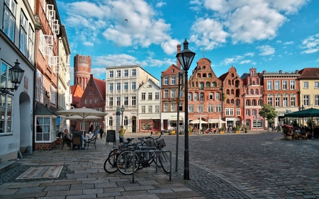 Lueneburg, Germany - lantern, Germany, houses, streetscape, clouds, bicycles