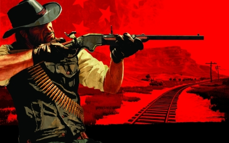 point and shoot - railroad, rifle, cowboy, cartridge belt