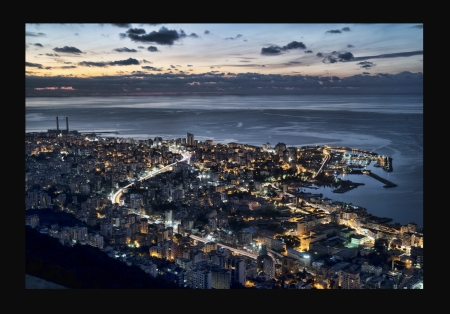 Memory Glitter - dusk, Beirut, clouds, night, lights, border, marina, 3150x2198, frame, cityscape, water, roads