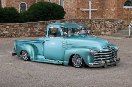1952-Chevy-Pickup - Aqua, Classic, Lowered, Bowtie