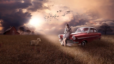 ♥ - Barn, Bright, Red, Sad, Field, Dark, Birds, Nature, Classic, Clouds, Car, Vintage, Woman, Country, Sunlight, Lamb