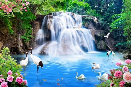 Fantasy waterfall - cascades, fantasy, paradise, birds, waterfall, beautiful, roses, forest, exotic, summer
