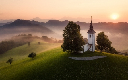 Church in Slovenia - church, Slovenia, mountains, sun, trees, mist