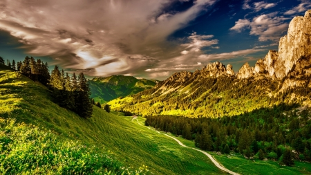 Greenery Mountains - greenery, mountains, path, nature, clouds, sky, landscape, valley