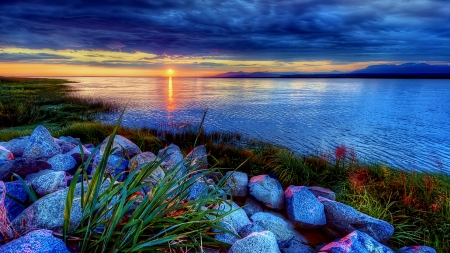 Dreamy Sunrise Over Mountain Lake - lake, mountains, stones, nature, sunrise, reflection