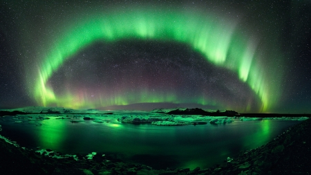 Aurora Borealis - aurora borealis, nature, lake, stars, water, night