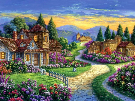 Twilight - houses, mountains, path, flowers, sunset, clouds, sky, artwork, painting