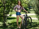 Summer Girl with her Bicycle
