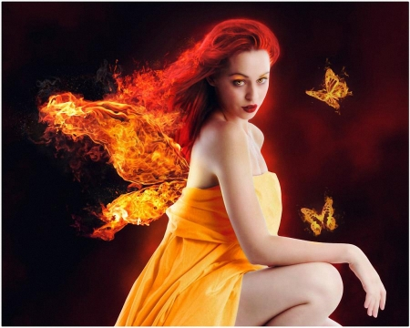 Fire Lady - fire, lady, woman, butterfly