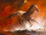 Horse galloping..Oil Painting...video..'Ride On'