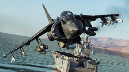 DCS-AV-8B-Harrier-II-PLUS - guided weapons on underwing pylons, LHA in background unknown, artist rendition, us marine air corps