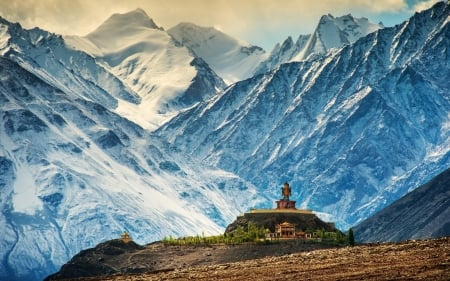 himalayas mountains - building, buddhism, snowy, mountains, monastery