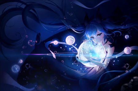 Isolated in Light - hatsune miku, light, anime, vocaloid, fantasy, spheres