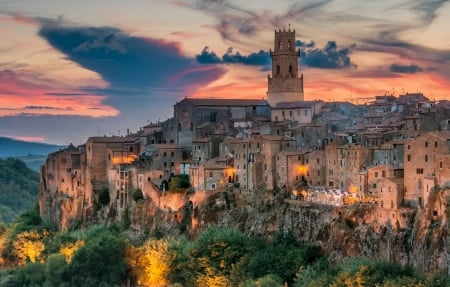 Pitigliano, Tuscany, Italy - houses, flowers, evening, sunset, church, sky, clouds, lights