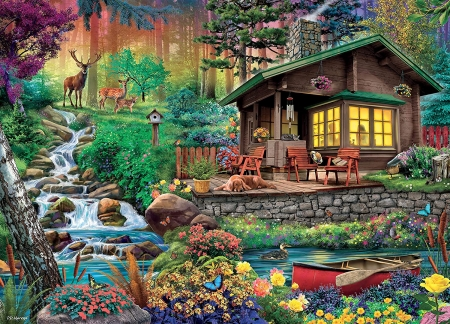 Wilderness Lodge - forest, boat, chairs, flowers, cabin, river, dog, deer