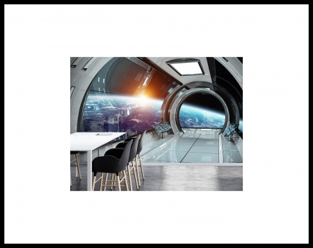 Living In Orbit - Table, Earth, Viewports, Space, Chairs