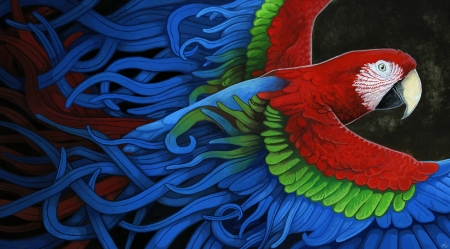 Macaw - macaw, parrot, blue, art, red, wings, renee lecompte, bird, green, pasari, painting, pictura