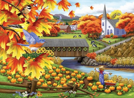Harvest of Beauty - leaves, covered bridge, painting, colors, river, church, pumpkins, artwork