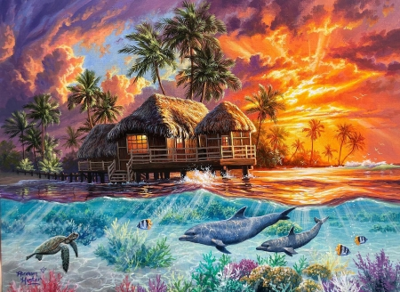 Weekend In Paradise - sunset, turtle, cabin, clouds, palms, underwater, fish, colors, artwork, dolphins, painting