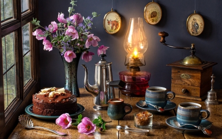 Coffee Still Life - still life, cake, lamp, coffee, flowers
