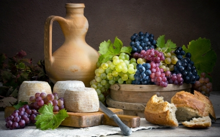 Grapes Still Life - bread, jug, grapes, cheese, still life