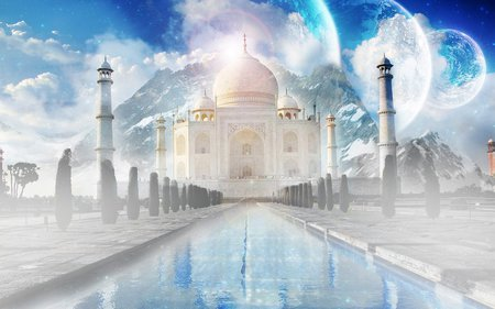 The Taj Mahal - india, white, palace, asia