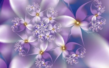 Violet Flowers - flowers, purple, fractals, white, pretty, spiral, violet