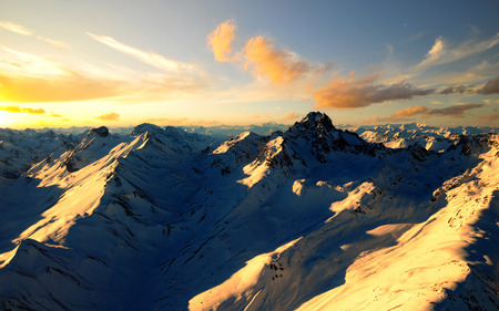 Beautiful Mountains - sunrise, sunset, skies, mountains, nature