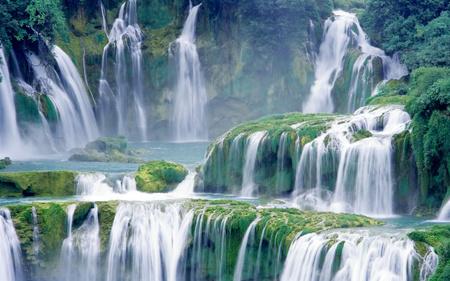 Amazing Lush Green Waterfall         - river, nature, waterfall, earth