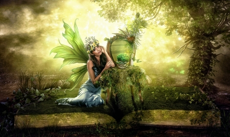 The book and the fairy - Fairy, dreamy, fantasy, fantasy land, green, Digital, woods, mirror, sweet