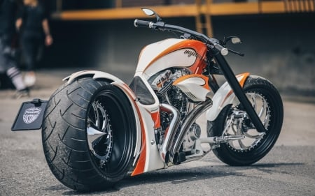 Thunderbike - motorcycles, Thunderbike, white bikes, vehicles, rear view