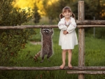 Funny Girl and Raccoon