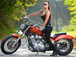 Motorcycle Babe on her Harley