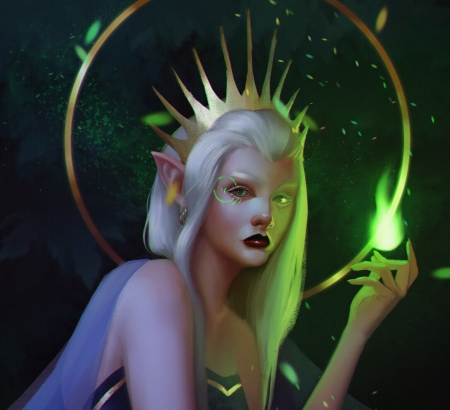 Sorceress - green, girl, grene spiro, fantasy, luminos, sorceress