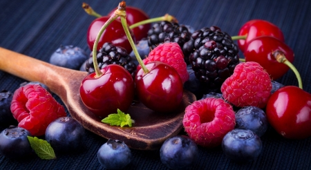 Fruits - fruits, blueberry, cherry, food, blackberry, still life, photography, berry, berries, wallpaper, summer, raspberry