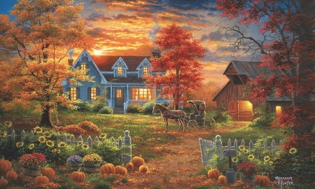 Autumn Lights - farm, rural, scenic, house, sunset, sky, Autumn, barn, Pumpkins