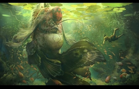 The God of the river - god, underwater, frumusete, luminos, fish, sui yangyang, vara, fantasy, water, green, pesti, summer